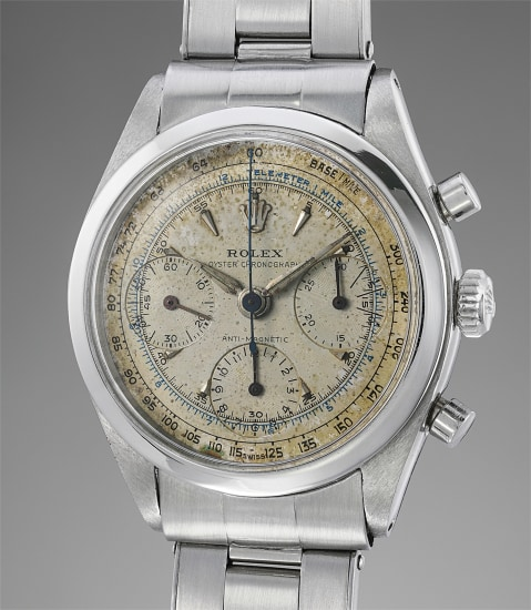 An attractive stainless steel chronograph wristwatch with bracelet, guarantee and fitted box