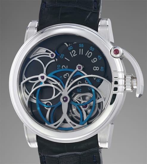 A complex, rare and attractive white gold wristwatch with visible gears and bridges
