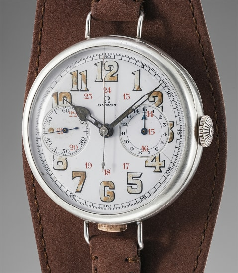 A historically important extremely rare oversized silver single-button chronograph wristwatch with enamel dial