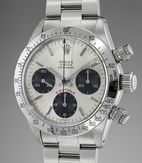 An attractive stainless steel chronograph wristwatch with silvered dial, bracelet, box and punched guarantee