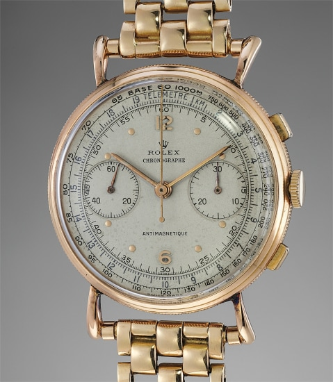 A rare and extremely attractive pink gold chronograph wristwatch with bracelet, box and a letter from the manufacture