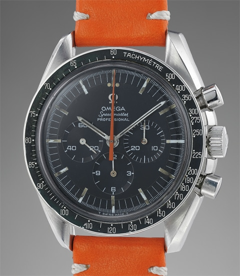 A fine and very rare chronograph wristwatch with tachymeter bezel and special orange chronograph hand