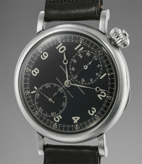 An extremely large, unusual and very well preserved stainless steel single button chronograph pilot's wristwatch with rotated black dial and hinged case back, retailed by Eberhard Milano
