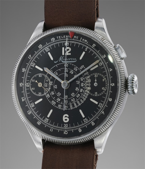 An extremely attractive, rare and well preserved oversized single-button multi-scale chronograph wristwatch with black gloss dial and revolving bezel