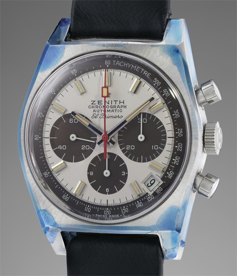 A very rare and remarkably well-preserved stainless steel chronograph wristwatch with tropical panda dial and original presentation box