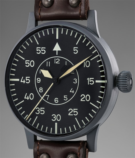 An extremely large, very rare and flawlessly preserved stainless steel pilot's wristwatch with center seconds, black luminous dial and box