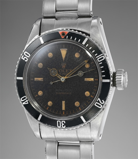 """A rare and attractive stainless steel wristwatch with black lacquer dial, """"big crown"""" and """"big logo"""" bracelet"""