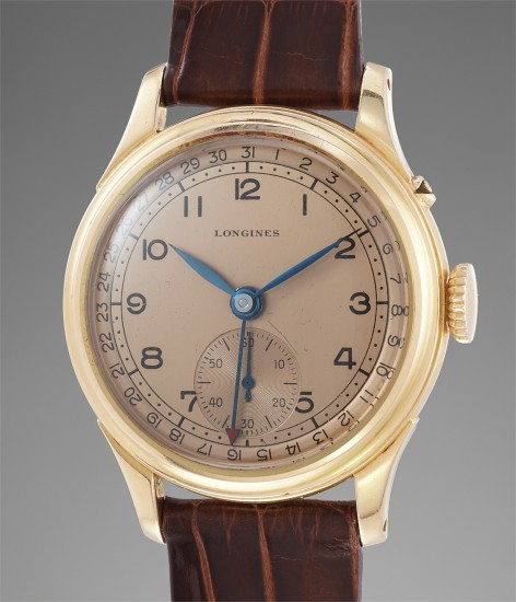 A very elegant pink gold calendar wristwatch with pink two tone dial