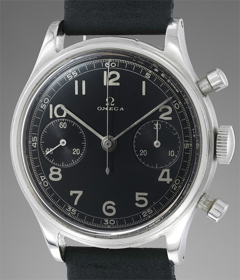 A very attractive stainless steel chronograph wristwatch with black glossy dial and silver script