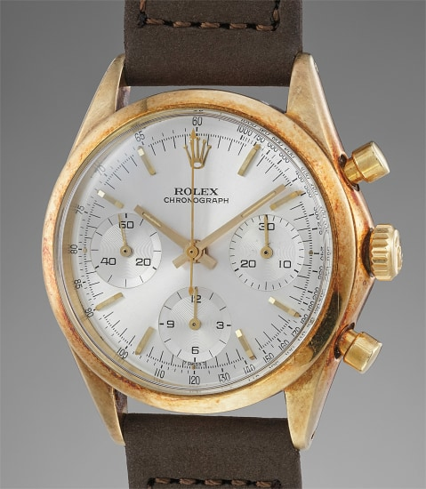 A rare and attractive 14K yellow gold chronograph wristwatch