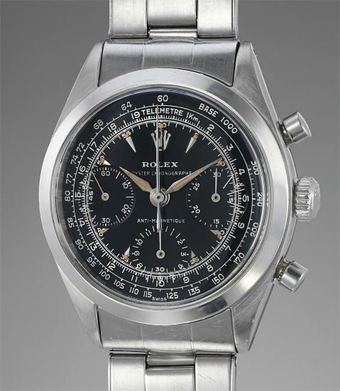 An extremely rare, attractive and important stainless steel chronograph wristwatch with luminous black glossy dial and bracelet