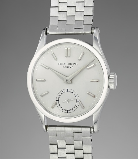 An extremely fine, possibly unique and superbly elegant platinum wristwatch with original Gay Frères bracelet