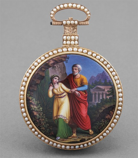 An exceptional yellow gold, pearl-set and enamel open face centre seconds duplex escapment pocket watch with enamel caseback depicting Antigone and her father Oedipus, made for the Chinese market
