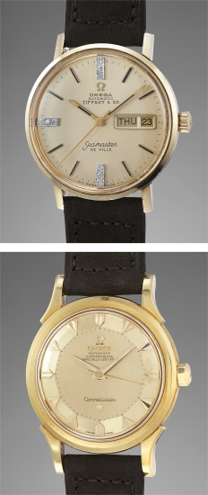 """A set of two extremely attractive and well-preserved wristwatches, one set with diamonds and gold plated and retailed by Tiffany & Co. and another spectacularly-preserved in yellow gold with """"Pie-Pan"""" dial"""