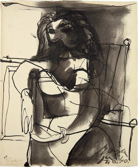 Buste de femme assise dans un fauteuil