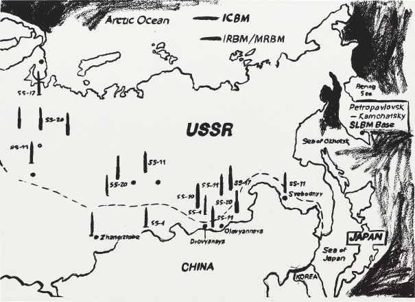 Map of Eastern U.S.S.R. Missile Bases (Positive)