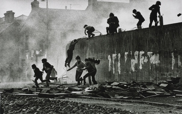 Gangs of Boys Escaping C.S. Gas Fired by British Soldiers, Londonderry, Northern Ireland