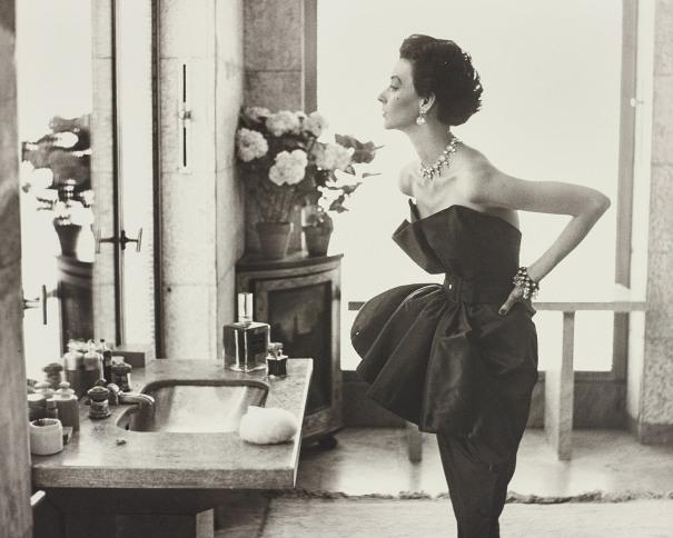 Dorian Leigh, Evening Dress by Piguet, Helena Rubinstein Apartment, Paris, August