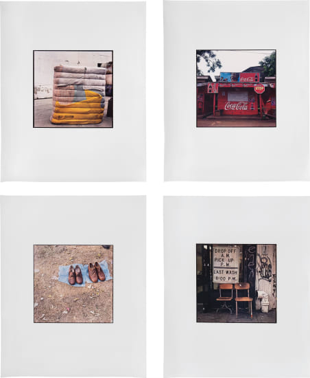Four works: (i) Yellow, Pink, Blue Bundle; (ii) Coca Cola shack; (iii) Two Pairs; (iv) Drop Off A.M. Pick Up P.M.