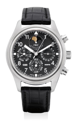 A fine and rare stainless steel perpetual calendar chronograph wristwatch with moon phases, numbered 31 of a 50 pieces limited edition