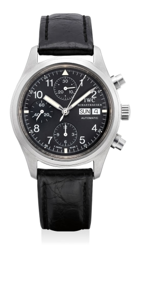 A fine stainless steel chronograph wristwatch with day and date