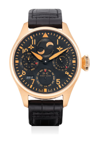 A fine and attractive limited edition pink gold pilot's wristwatch with perpetual calendar and power reserve indicator