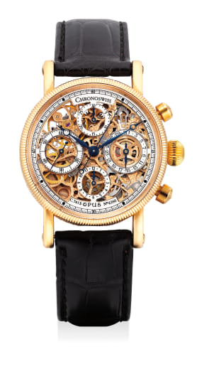 A fine, attractive and unusual pink gold skeletonized chronograph wristwatch with date and hack feature