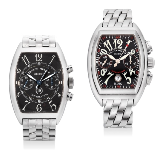 A lot of two stainless steel chronograph wristwatches with bracelets and presentation boxes