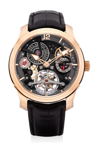An extremely fine and rare limited edition pink gold transparent 30-degree double tourbillon wristwatch with 120-hour running reserve and certificate and box