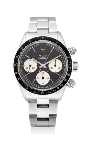 """A fine stainless steel chronograph wristwatch with """"Big Red"""" dial and bracelet"""