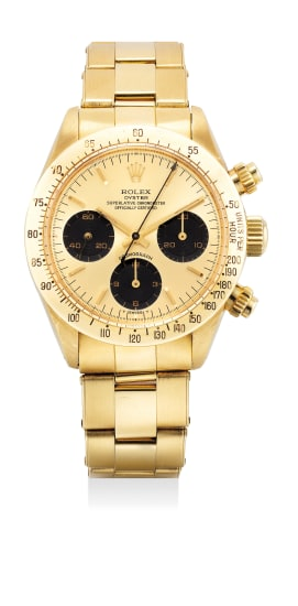 A very attractive and rare yellow gold chronograph wristwatch with gold dial and bracelet