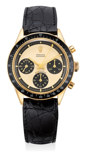 """A very rare and extremely attractive yellow gold chronograph wristwatch with champagne """"Paul Newman"""" dial"""