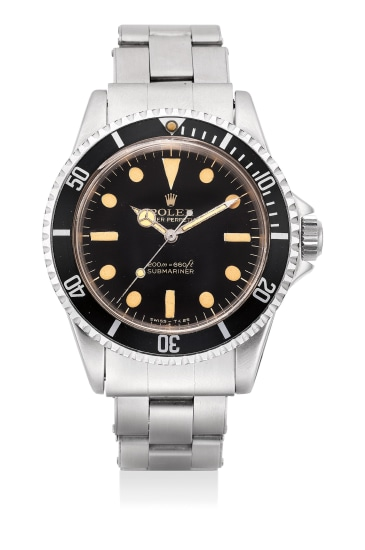 """An attractive and rare stainless steel wristwatch with black lacquer dial, """"Bart Simpson"""" Rolex coronet, sweep center seconds, bracelet, anchor and presentation box"""