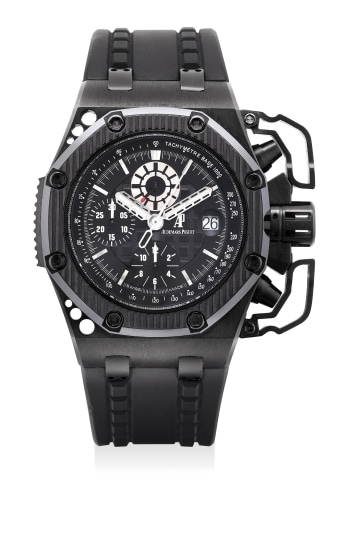 A very fine and rare blackened titanium limited edition chronograph wristwatch with oversized chronograph pusher guards, date, certificate and presentation box, numbered 799 of a limited edition of 1000 pieces