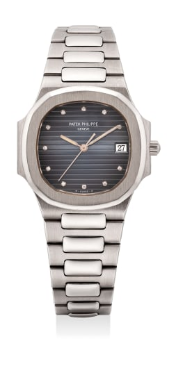 A very rare and the first publicly known white gold quartz wristwatch with date, center seconds and diamond hour markers