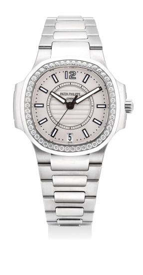 An attractive lady's stainless steel and diamond-set wristwatch with date, center seconds, bracelet, certificate and presentation box