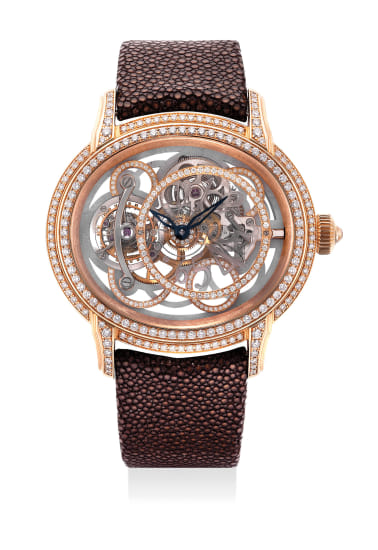 An very fine and impressive limited edition pink gold and diamond-set wristwatch with tourbillon regulator, guarantee and presentation box