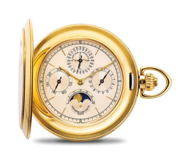 A very fine and heavy yellow gold perpetual calendar hunter case pocket watch with moon phases, with international warranty and setting pin