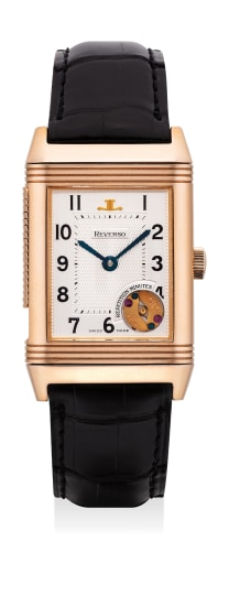 A fine and rare pink gold minute repeating rectangular-shaped reversible wristwatch with guarantee and box, numbered 465 of a limited edition of 500 pieces