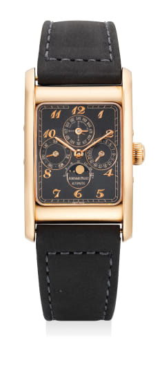 A fine and rare pink gold limited edition rectangular perpetual calendar wristwatch with applied Breguet numerals, matte black dial, certificate and leather portfolio, numbered 21 of a limited edition of 50 pieces