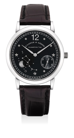 A fine and rare limited edition platinum astronomical wristwatch with moon phases, guarantee and box, numbered 108 of a limited edition of 150 pieces, made to commemorate 150th anniversary of Emil Lange's birth