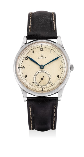 A fine stainless steel wristwatch with small center seconds, two tone sector dial and blued steel hands