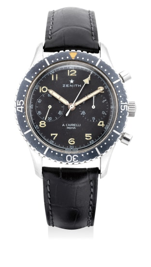 A fine and rare stainless steel chronograph wristwatch with luminous black dial and revolving bezel, retailed by Cairelli and made for the Italian army