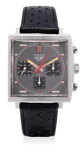 An exceptionally well preserved stainless steel chronograph wristwatch grey dial and black registers