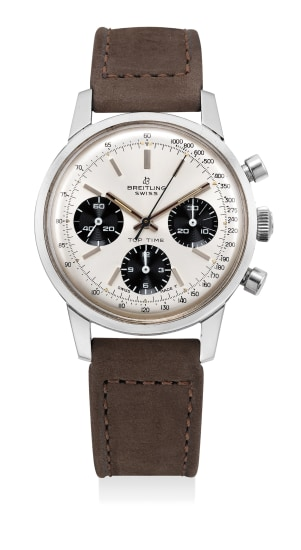 A fine stainless steel chronograph wristwatch with panda dial