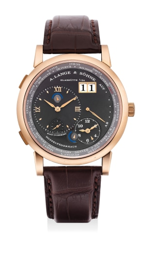 A fine and rare pink gold dual and world-time wristwatch with date, power reserve, night/day indications and grey dial