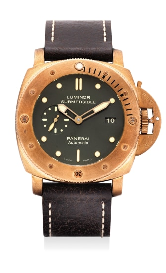 A fine and rare oversized limited edition bronze diver's wristwatch with date, 3-day power reserve, certificate and fitted presentation box, numbered 129 of a limited edition of 1000 pieces.