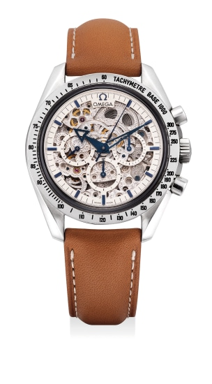 A fine and very rare limited edition platinum skeletonized chronograph wristwatch, numbered 5 of a limited edition of 21 pieces
