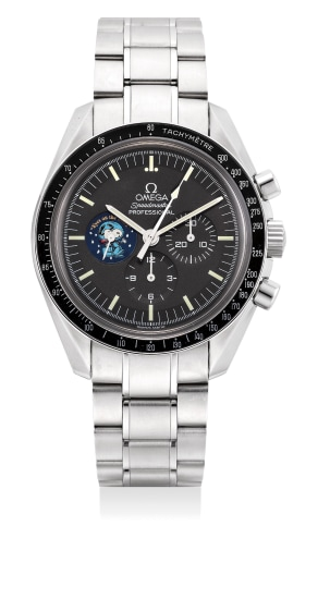 """A fine and rare limited edition stainless steel chronograph wristwatch with tachymeter scale, bracelet, warranty and box, numbered 328 of a limited edition of 5441 pieces, made to commemorate the """"Silver Snoopy Award"""" presented to Omega"""