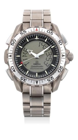 A quartz titanium calendar chronograph wristwatch